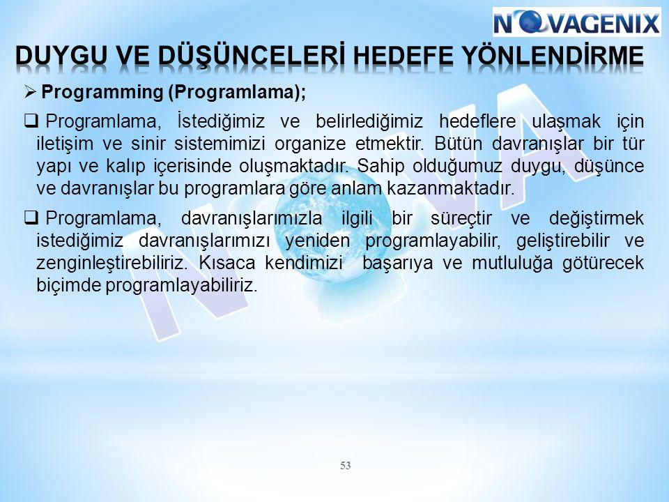 53  Programming (Programlama);  Programlama, İstediğimiz ve belirlediğimiz hedeflere ulaşmak için iletişim ve sinir sistemimizi organize etmektir. B