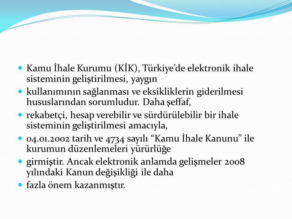 Kamu İhale Kurumu (KİK), Türkiye'de elektronik ihale sisteminin geliştirilmesi, yaygın kullanımının sağlanması ve eksikliklerin giderilmesi hususlarından sorumludur.