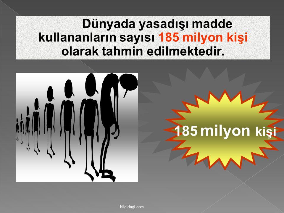 185 milyon kişi Dünyada yasadışı madde kullananların sayısı 185 milyon kişi olarak tahmin edilmektedir. bilgidagi.com