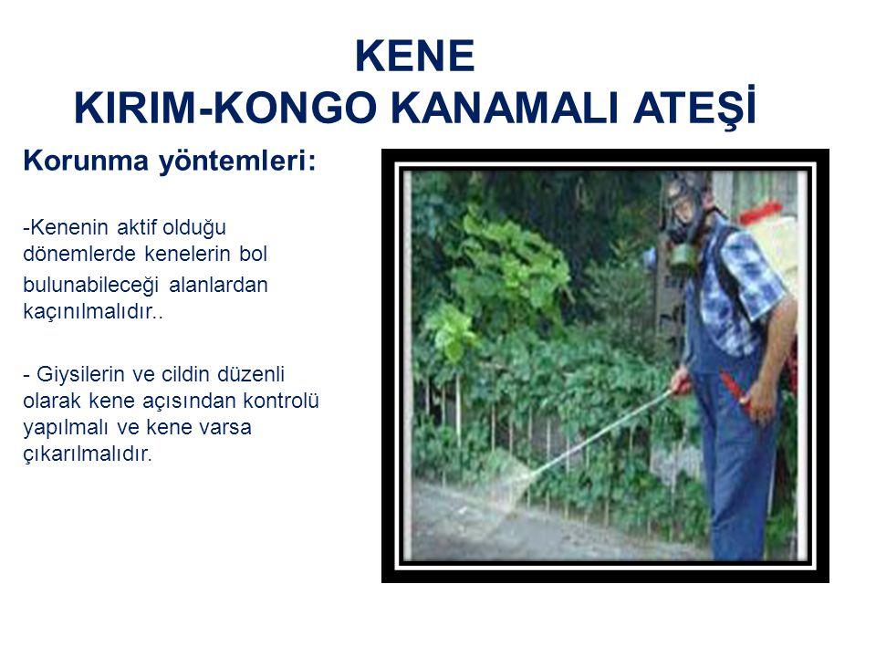 KENE KIRIM-KONGO KANAMALI ATEŞİ Korunma yöntemleri: -Kenenin aktif olduğu dönemlerde kenelerin bol bulunabileceği alanlardan kaçınılmalıdır..