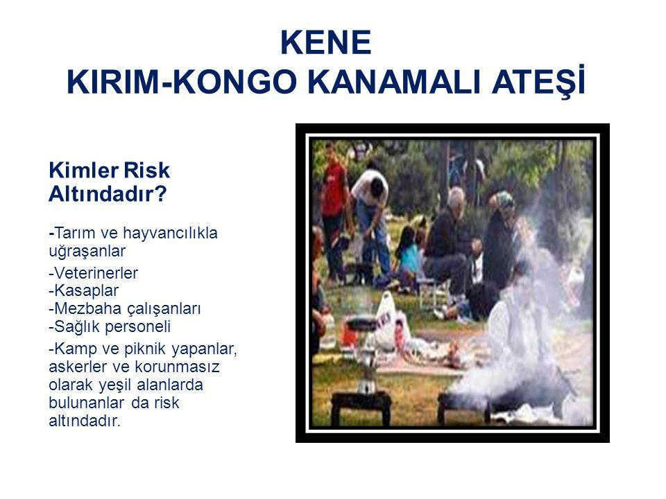 KENE KIRIM-KONGO KANAMALI ATEŞİ Bulaşma Yolu - İnfekte hayvanların doku ve kanı ile teması - Kene ısırığı veya ezilmesi ile - İnfekte insanlardan (Genellikle Nozokomiyal) - Laboratuvardan
