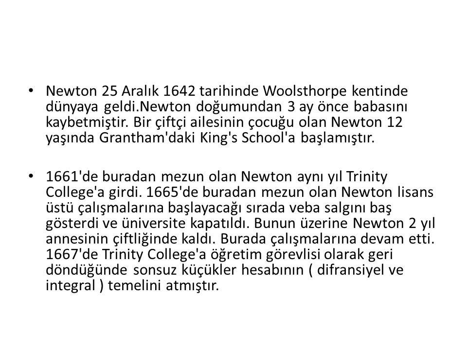 Newton 25 Aralık 1642 tarihinde Woolsthorpe kentinde dünyaya geldi.Newton doğumundan 3 ay önce babasını kaybetmiştir. Bir çiftçi ailesinin çocuğu olan