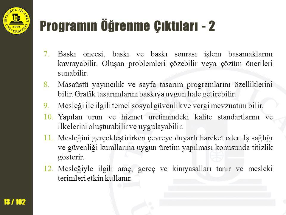 13 / 102 Programın Öğrenme Çıktıları - 2 7.Baskı öncesi, baskı ve baskı sonrası işlem basamaklarını kavrayabilir. Oluşan problemleri çözebilir veya çö