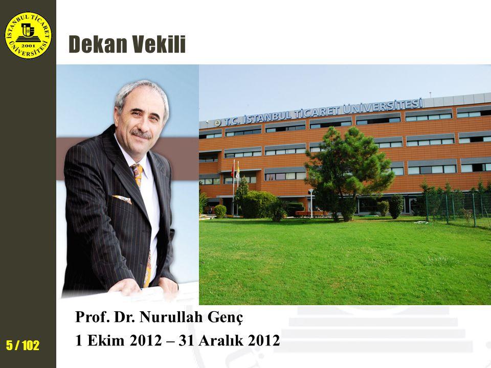 5 / 102 Dekan Vekili Prof. Dr. Nurullah Genç 1 Ekim 2012 – 31 Aralık 2012