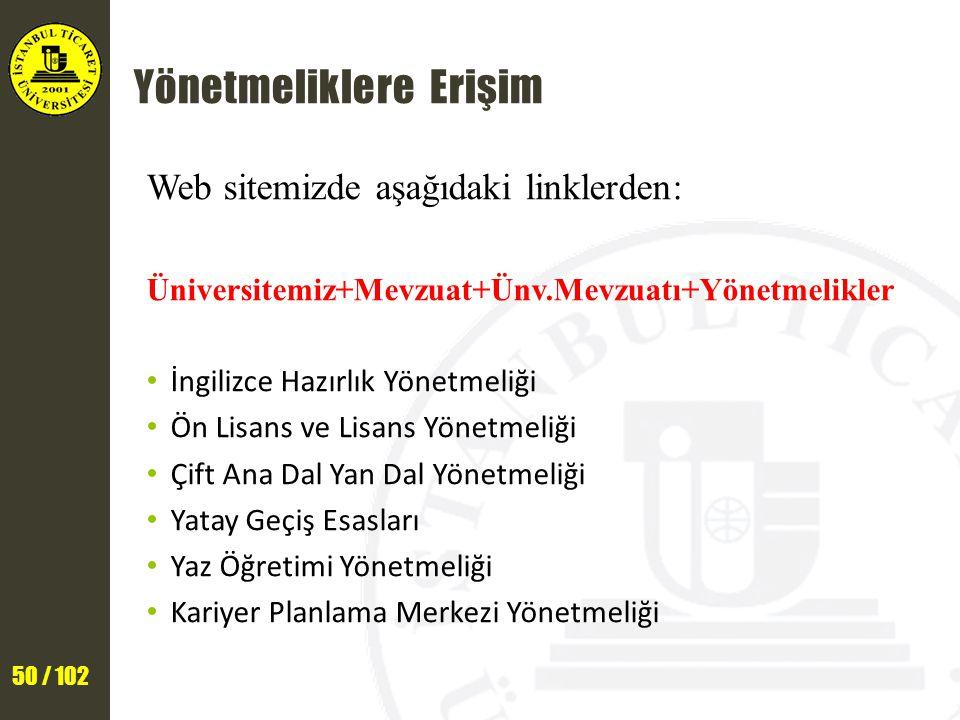 50 / 102 Yönetmeliklere Erişim Web sitemizde aşağıdaki linklerden: Üniversitemiz+Mevzuat+Ünv.Mevzuatı+Yönetmelikler İngilizce Hazırlık Yönetmeliği Ön