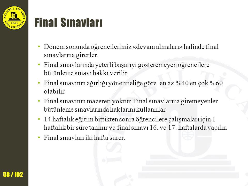 58 / 102 Final Sınavları Dönem sonunda öğrencilerimiz «devam almaları» halinde final sınavlarına girerler. Final sınavlarında yeterli başarıyı göstere