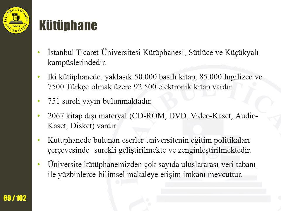 69 / 102 Kütüphane İstanbul Ticaret Üniversitesi Kütüphanesi, Sütlüce ve Küçükyalı kampüslerindedir. İki kütüphanede, yaklaşık 50.000 basılı kitap, 85