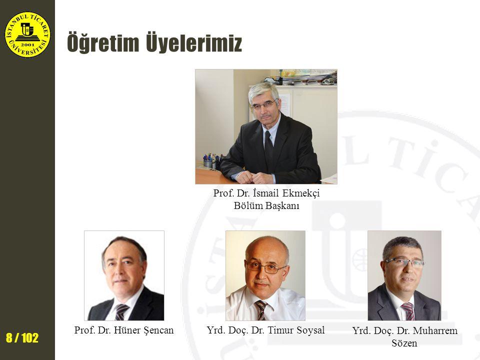 8 / 102 Öğretim Üyelerimiz Prof. Dr. İsmail Ekmekçi Bölüm Başkanı Yrd. Doç. Dr. Timur Soysal Yrd. Doç. Dr. Muharrem Sözen Prof. Dr. Hüner Şencan
