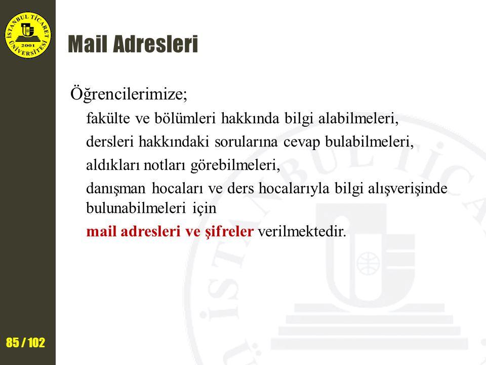 85 / 102 Mail Adresleri Öğrencilerimize; fakülte ve bölümleri hakkında bilgi alabilmeleri, dersleri hakkındaki sorularına cevap bulabilmeleri, aldıkla