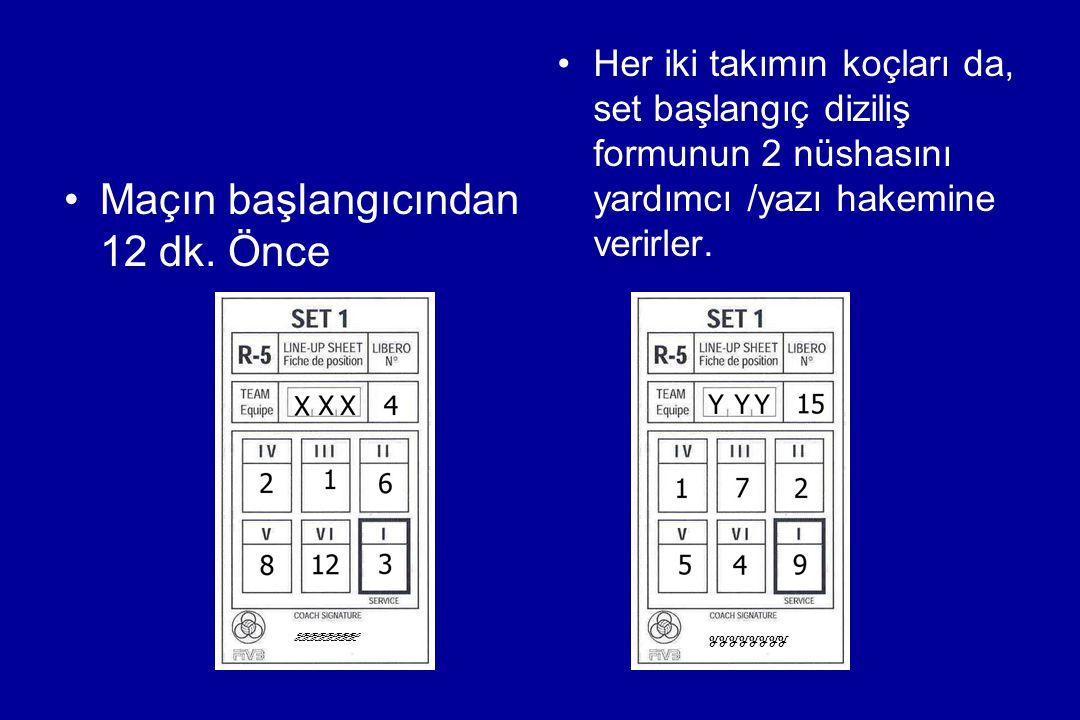 Maçın başlangıcından 12 dk. Önce Her iki takımın koçları da, set başlangıç diziliş formunun 2 nüshasını yardımcı /yazı hakemine verirler. XXXXXXXX YYY