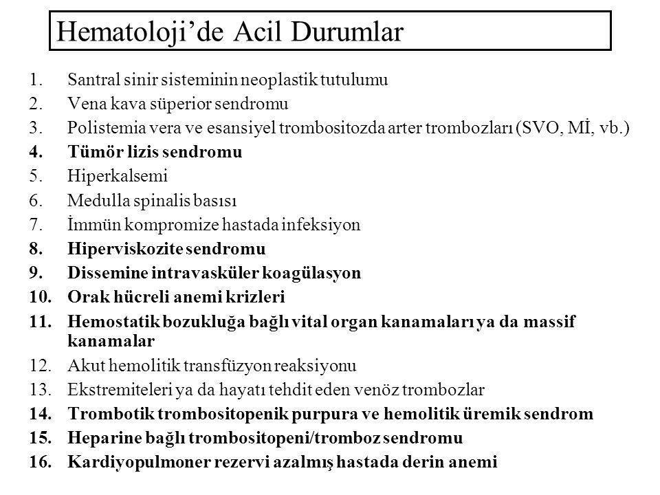 Hematoloji'de Acil Durumlar 1.Santral sinir sisteminin neoplastik tutulumu 2.Vena kava süperior sendromu 3.Polistemia vera ve esansiyel trombositozda arter trombozları (SVO, Mİ, vb.) 4.Tümör lizis sendromu 5.Hiperkalsemi 6.Medulla spinalis basısı 7.İmmün kompromize hastada infeksiyon 8.Hiperviskozite sendromu 9.Dissemine intravasküler koagülasyon 10.Orak hücreli anemi krizleri 11.Hemostatik bozukluğa bağlı vital organ kanamaları ya da massif kanamalar 12.Akut hemolitik transfüzyon reaksiyonu 13.Ekstremiteleri ya da hayatı tehdit eden venöz trombozlar 14.Trombotik trombositopenik purpura ve hemolitik üremik sendrom 15.Heparine bağlı trombositopeni/tromboz sendromu 16.Kardiyopulmoner rezervi azalmış hastada derin anemi