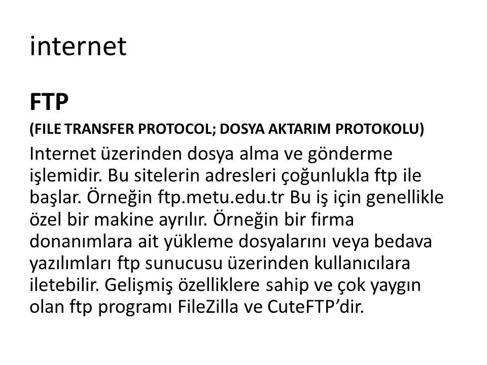FTP (FILE TRANSFER PROTOCOL; DOSYA AKTARIM PROTOKOLU) Internet üzerinden dosya alma ve gönderme işlemidir. Bu sitelerin adresleri çoğunlukla ftp ile b