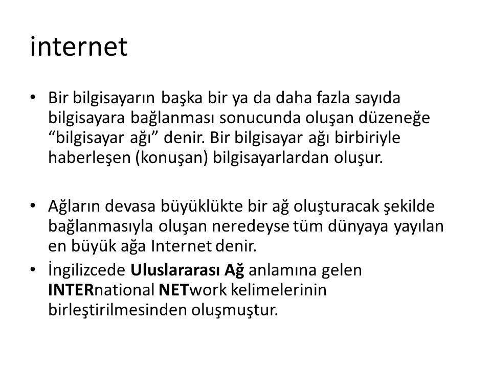 Internet'in Özellikleri: 1-Internetin merkezi ya da herhangi bir ana bilgisayarı yoktur.