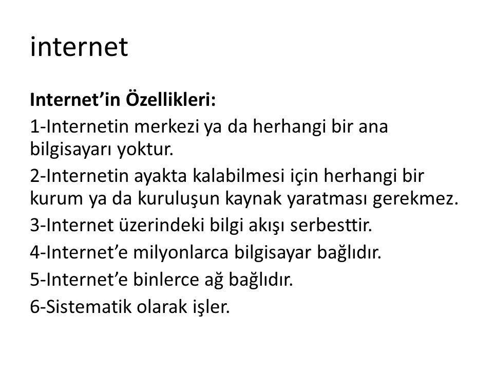 Internet'in Özellikleri: 1-Internetin merkezi ya da herhangi bir ana bilgisayarı yoktur. 2-Internetin ayakta kalabilmesi için herhangi bir kurum ya da