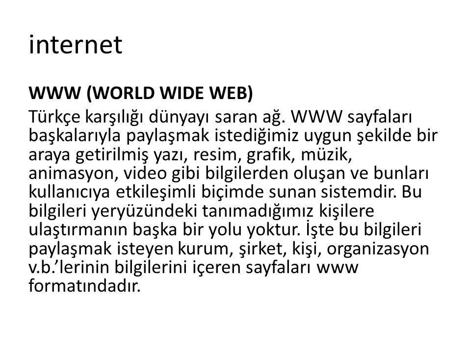 WWW (WORLD WIDE WEB) Türkçe karşılığı dünyayı saran ağ. WWW sayfaları başkalarıyla paylaşmak istediğimiz uygun şekilde bir araya getirilmiş yazı, resi