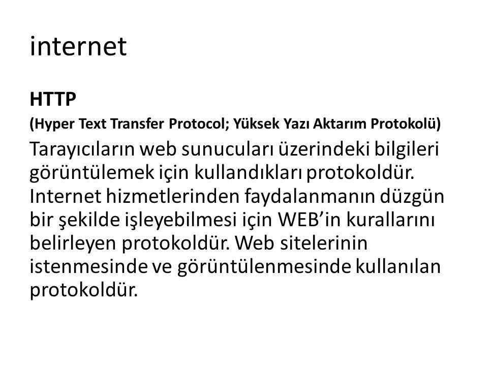 HTTP (Hyper Text Transfer Protocol; Yüksek Yazı Aktarım Protokolü) Tarayıcıların web sunucuları üzerindeki bilgileri görüntülemek için kullandıkları p