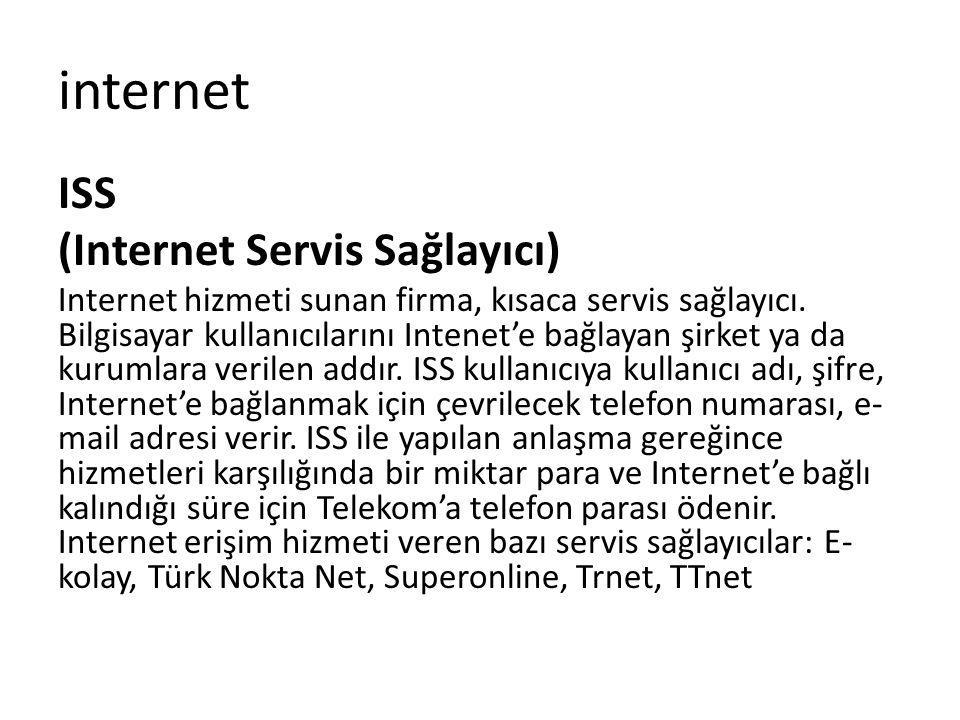 ISS (Internet Servis Sağlayıcı) Internet hizmeti sunan firma, kısaca servis sağlayıcı. Bilgisayar kullanıcılarını Intenet'e bağlayan şirket ya da kuru