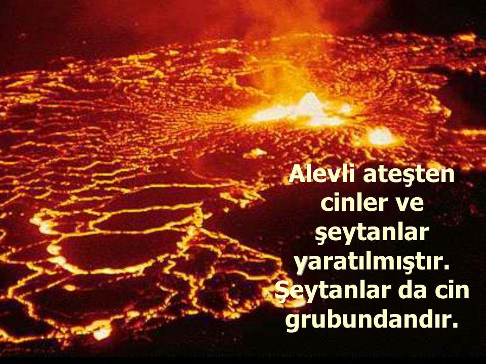 Alevli ateşten cinler ve şeytanlar y yaratılmıştır. Şeytanlar da cin grubundandır.