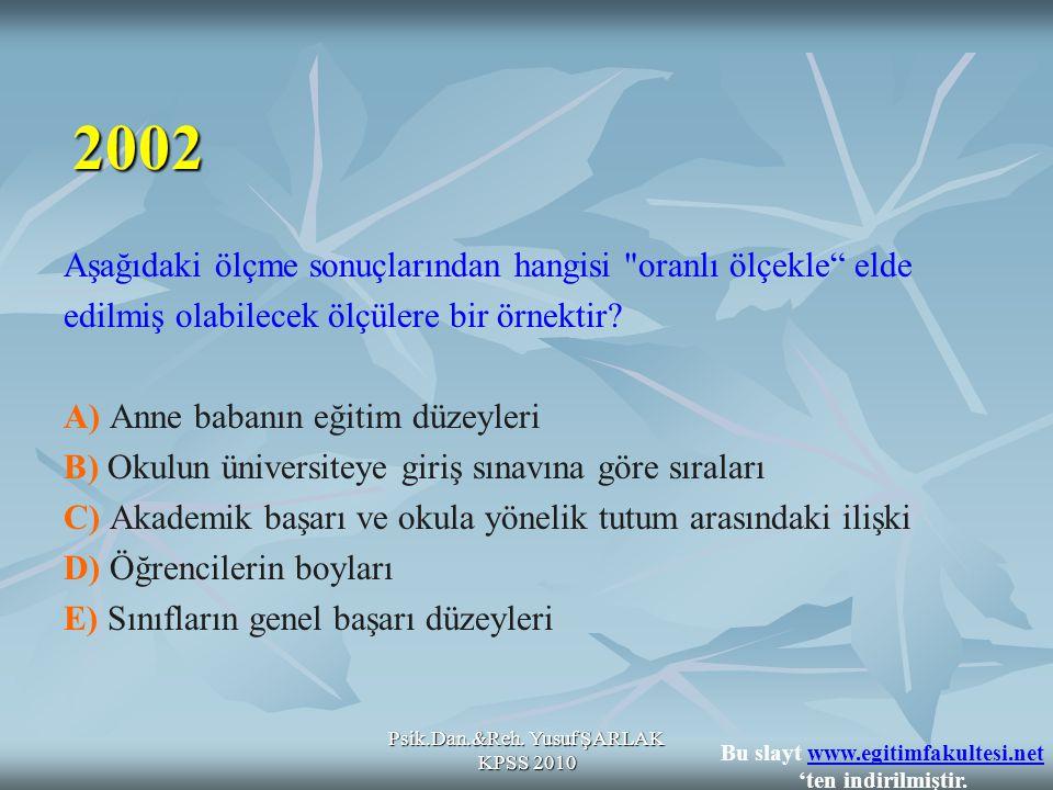 Psik.Dan.&Reh. Yusuf ŞARLAK KPSS 2010 Aşağıdaki ölçme sonuçlarından hangisi