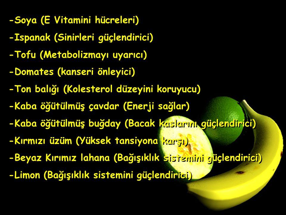 -Soya (E Vitamini hücreleri) -Ispanak (Sinirleri güçlendirici) -Tofu (Metabolizmayı uyarıcı) -Domates (kanseri önleyici) -Ton balığı (Kolesterol düzey