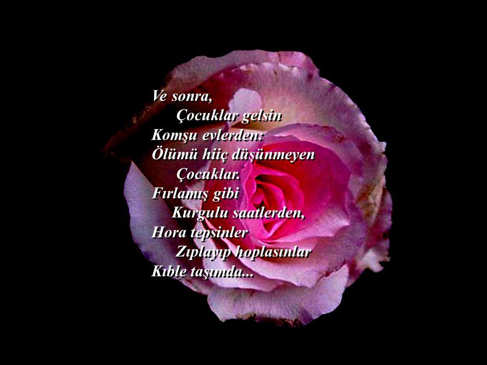 Ihlamur çiçekleriyle, Kırmızı güller, sevabına Karanfiller Koksunlar burcu burcu Baş ucumda...