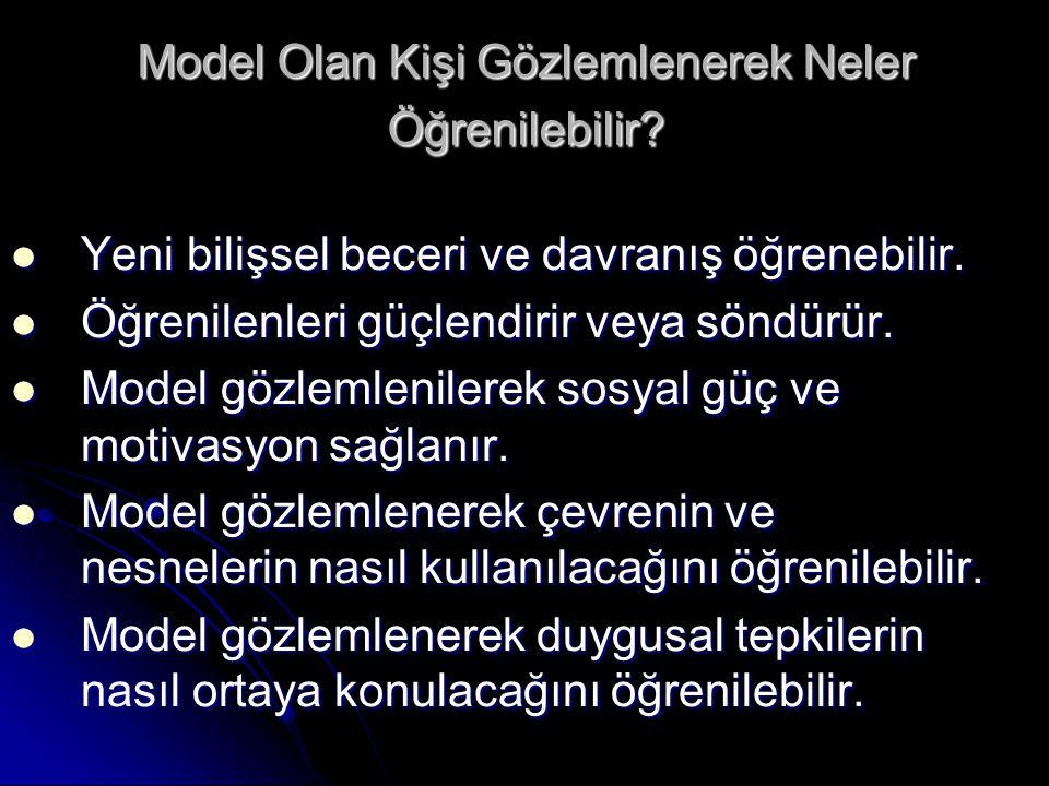 Model Olan Kişi Gözlemlenerek Neler Öğrenilebilir? Yeni bilişsel beceri ve davranış öğrenebilir. Yeni bilişsel beceri ve davranış öğrenebilir. Öğrenil