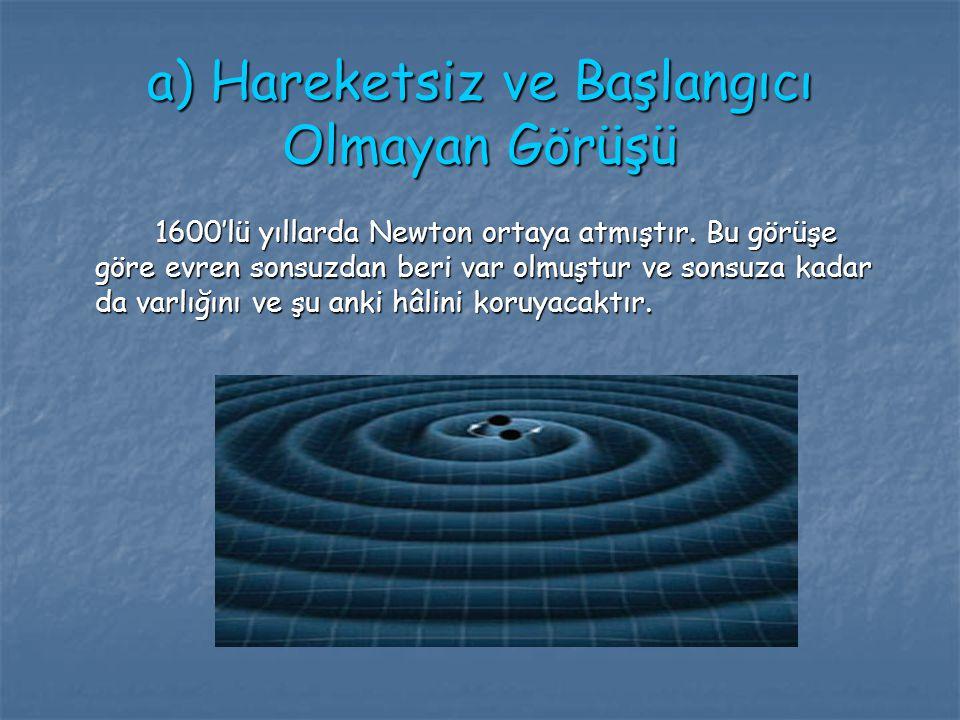 a) Hareketsiz ve Başlangıcı Olmayan Görüşü 1600'lü yıllarda Newton ortaya atmıştır. Bu görüşe göre evren sonsuzdan beri var olmuştur ve sonsuza kadar