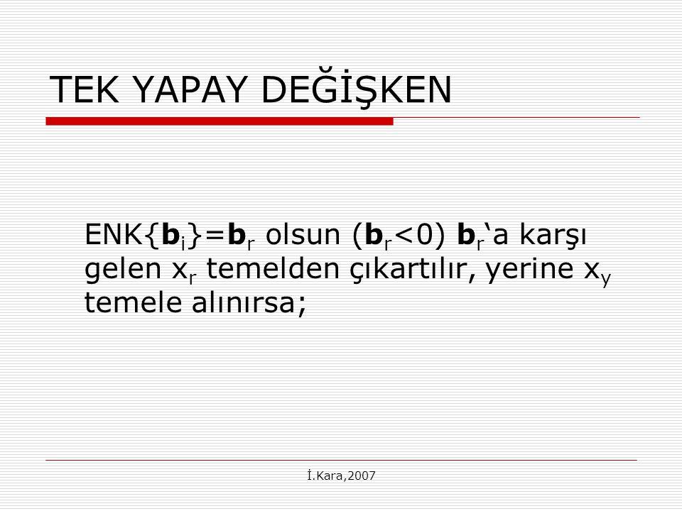 İ.Kara,2007 TEK YAPAY DEĞİŞKEN ENK{b i }=b r olsun (b r <0) b r 'a karşı gelen x r temelden çıkartılır, yerine x y temele alınırsa;