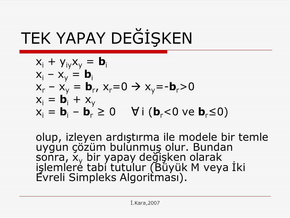 İ.Kara,2007 TEK YAPAY DEĞİŞKEN x i + y iy x y = b i x i – x y = b i x r – x y = b r, x r =0  x y =-b r >0 x i = b i + x y x i = b i – b r ≥ 0 i (b r