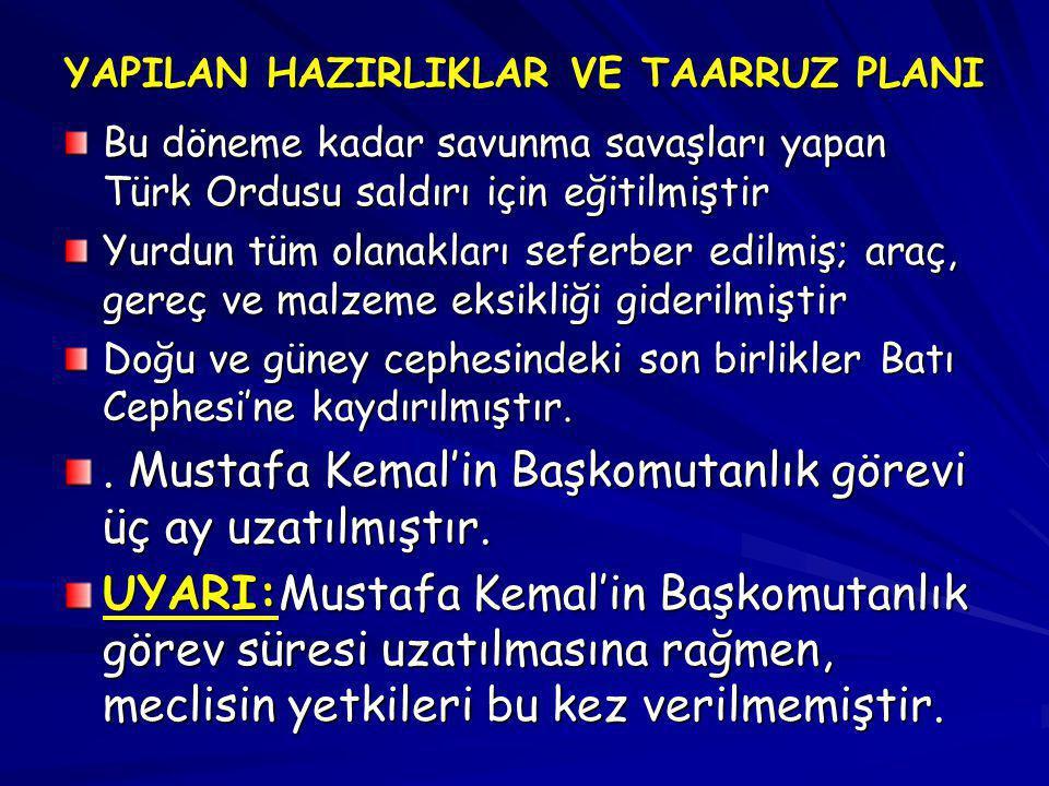 YAPILAN HAZIRLIKLAR VE TAARRUZ PLANI Bu döneme kadar savunma savaşları yapan Türk Ordusu saldırı için eğitilmiştir Yurdun tüm olanakları seferber edil