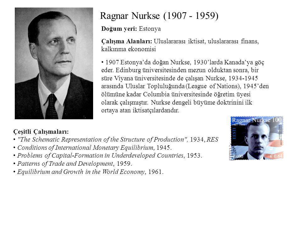 Ragnar Nurkse (1907 - 1959) Çalışma Alanları: Uluslararası iktisat, uluslararası finans, kalkınma ekonomisi Çeşitli Çalışmaları: