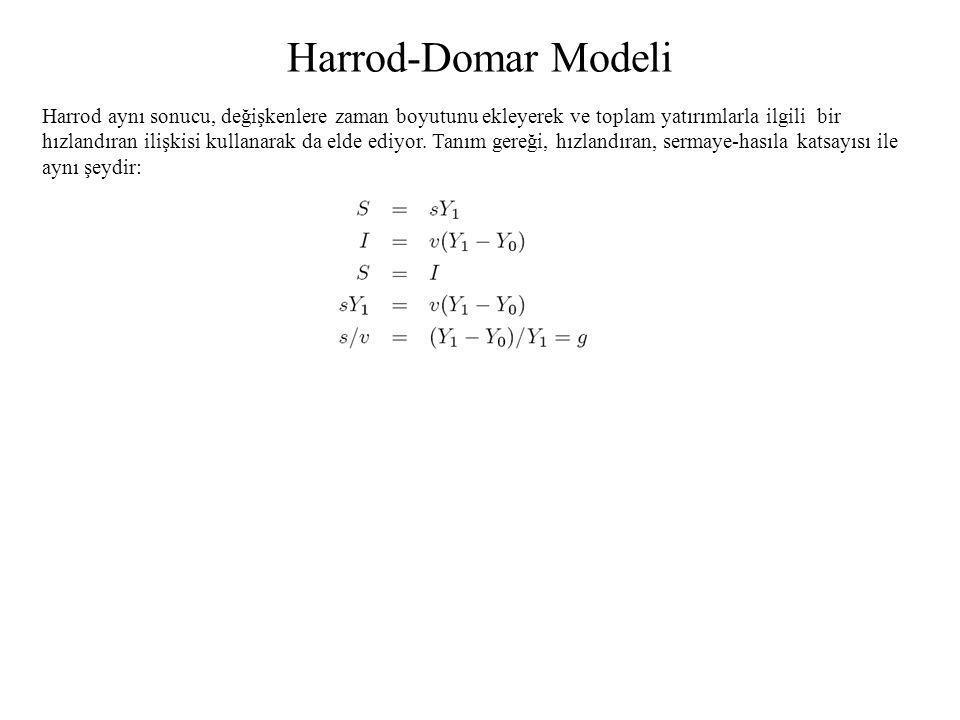 Harrod-Domar Modeli Harrod aynı sonucu, değişkenlere zaman boyutunu ekleyerek ve toplam yatırımlarla ilgili bir hızlandıran ilişkisi kullanarak da eld