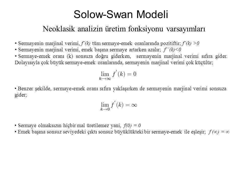 Solow-Swan Modeli Sermayenin marjinal verimi, f´(k) tüm sermaye-emek oranlarında pozitiftir; f´(k) >0 Sermayenin marjinal verimi, emek başına sermaye