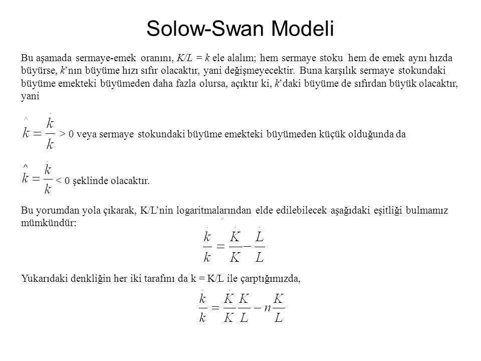 Solow-Swan Modeli Bu aşamada sermaye-emek oranını, K/L = k ele alalım; hem sermaye stoku hem de emek aynı hızda büyürse, k'nın büyüme hızı sıfır olaca