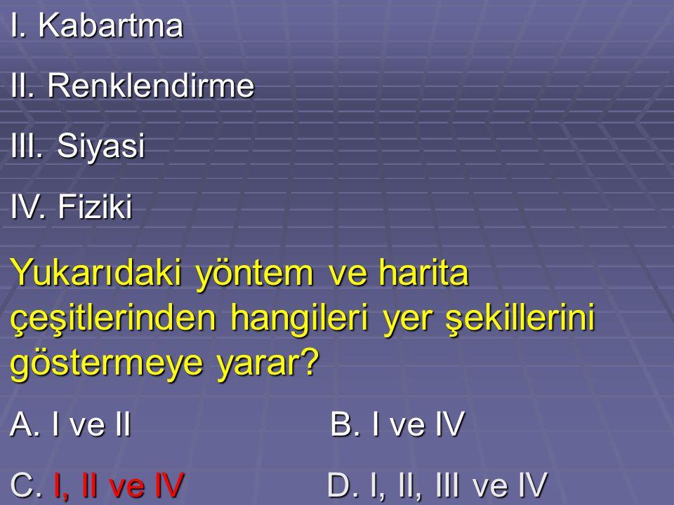 I. Kabartma II. Renklendirme III. Siyasi IV. Fiziki Yukarıdaki yöntem ve harita çeşitlerinden hangileri yer şekillerini göstermeye yarar? A. I ve II B