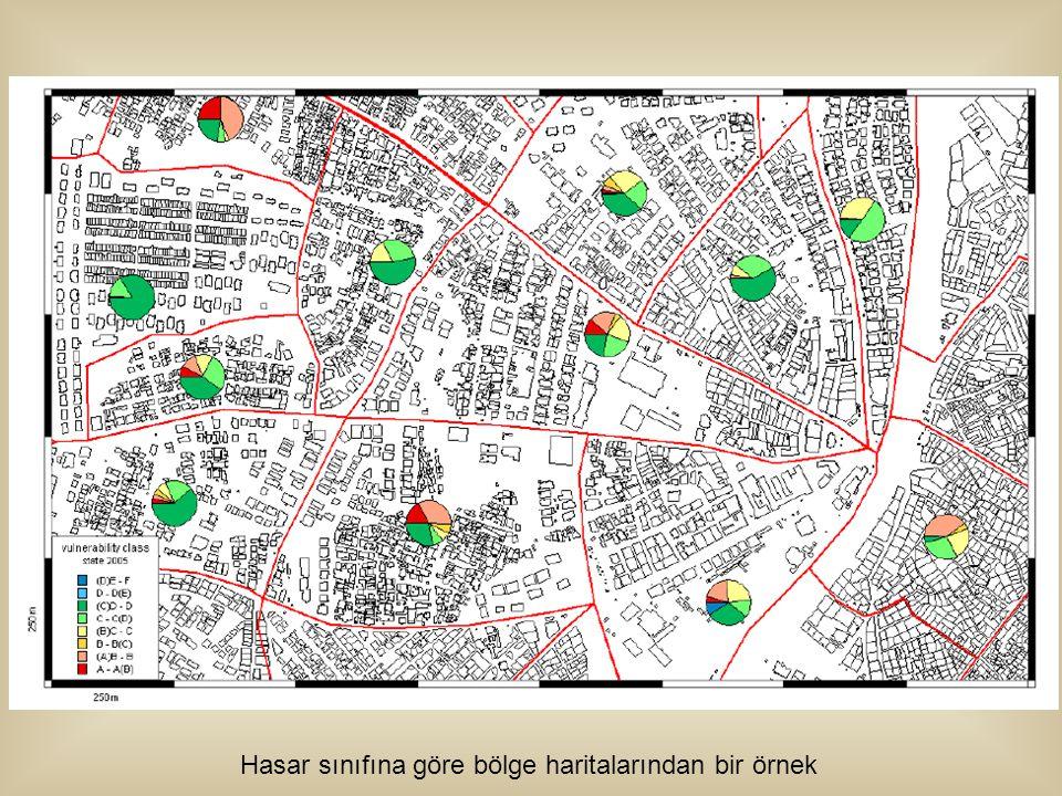 Hasar sınıfına göre bölge haritalarından bir örnek