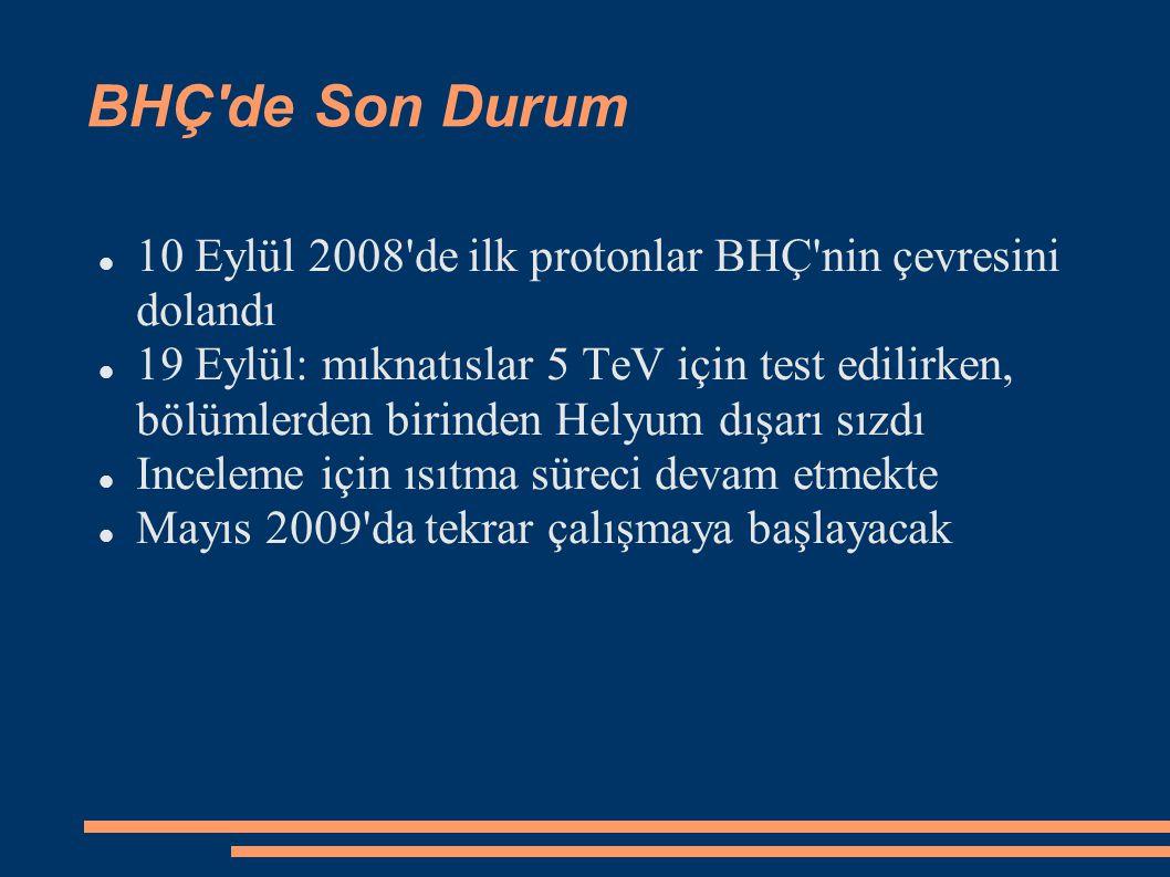 BHÇ de Son Durum 10 Eylül 2008 de ilk protonlar BHÇ nin çevresini dolandı 19 Eylül: mıknatıslar 5 TeV için test edilirken, bölümlerden birinden Helyum dışarı sızdı Inceleme için ısıtma süreci devam etmekte Mayıs 2009 da tekrar çalışmaya başlayacak