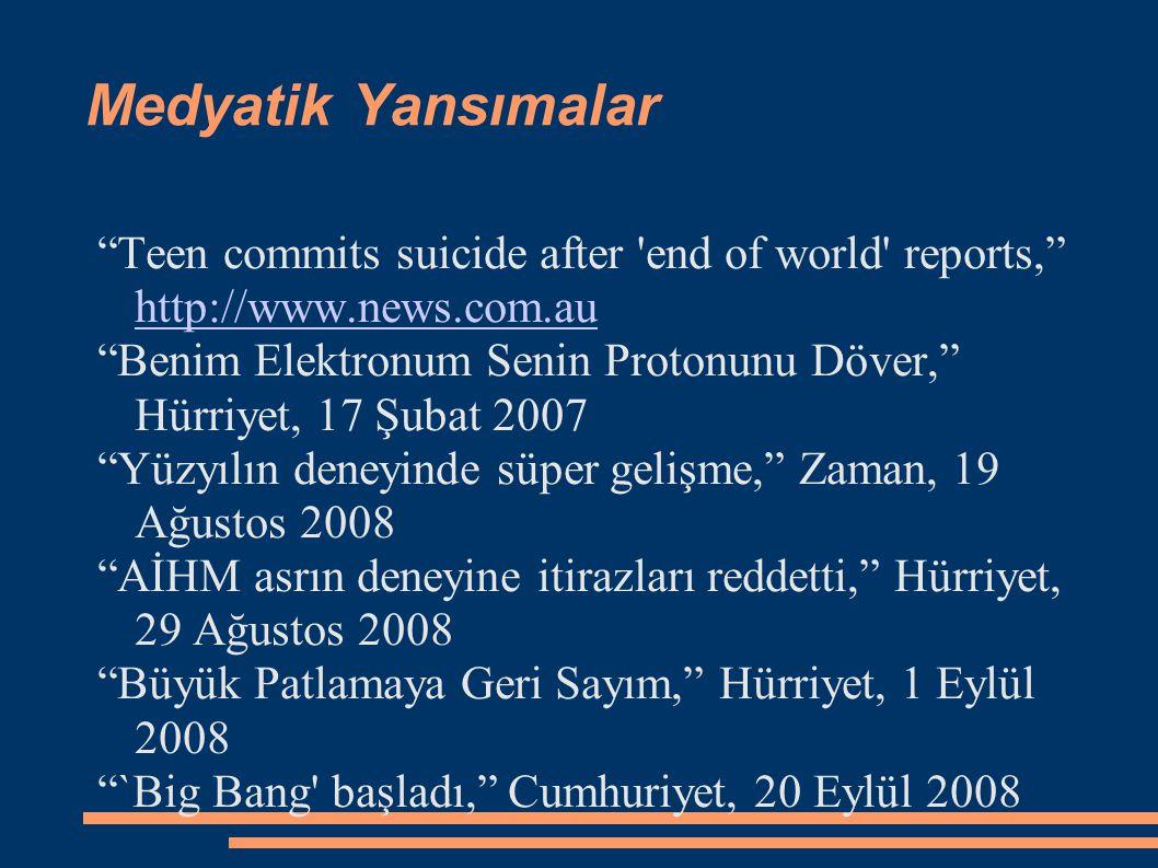 Medyatik Yansımalar Teen commits suicide after end of world reports, http://www.news.com.au http://www.news.com.au Benim Elektronum Senin Protonunu Döver, Hürriyet, 17 Şubat 2007 Yüzyılın deneyinde süper gelişme, Zaman, 19 Ağustos 2008 AİHM asrın deneyine itirazları reddetti, Hürriyet, 29 Ağustos 2008 Büyük Patlamaya Geri Sayım, Hürriyet, 1 Eylül 2008 `Big Bang başladı, Cumhuriyet, 20 Eylül 2008