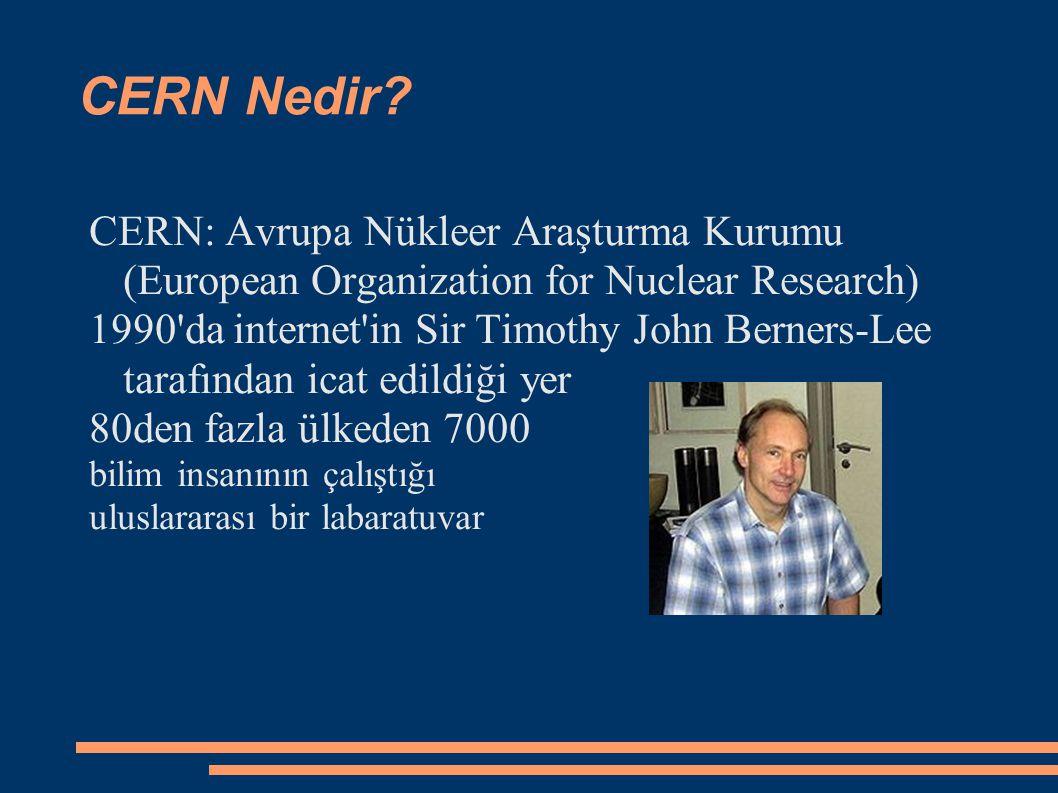 CERN Nedir? CERN: Avrupa Nükleer Araşturma Kurumu (European Organization for Nuclear Research) 1990'da internet'in Sir Timothy John Berners-Lee taraf
