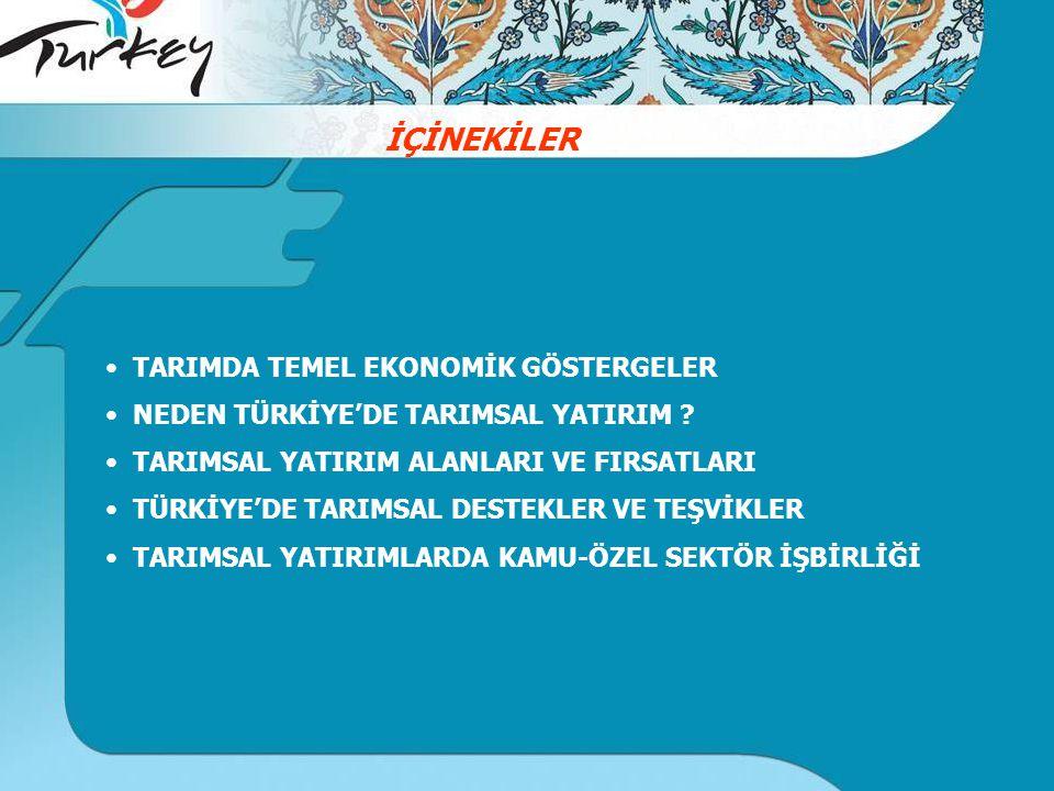 TARIMDA TEMEL EKONOMİK GÖSTERGELER NEDEN TÜRKİYE'DE TARIMSAL YATIRIM .