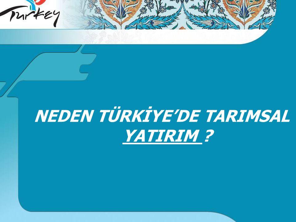 NEDEN TÜRKİYE'DE TARIMSAL YATIRIM ?
