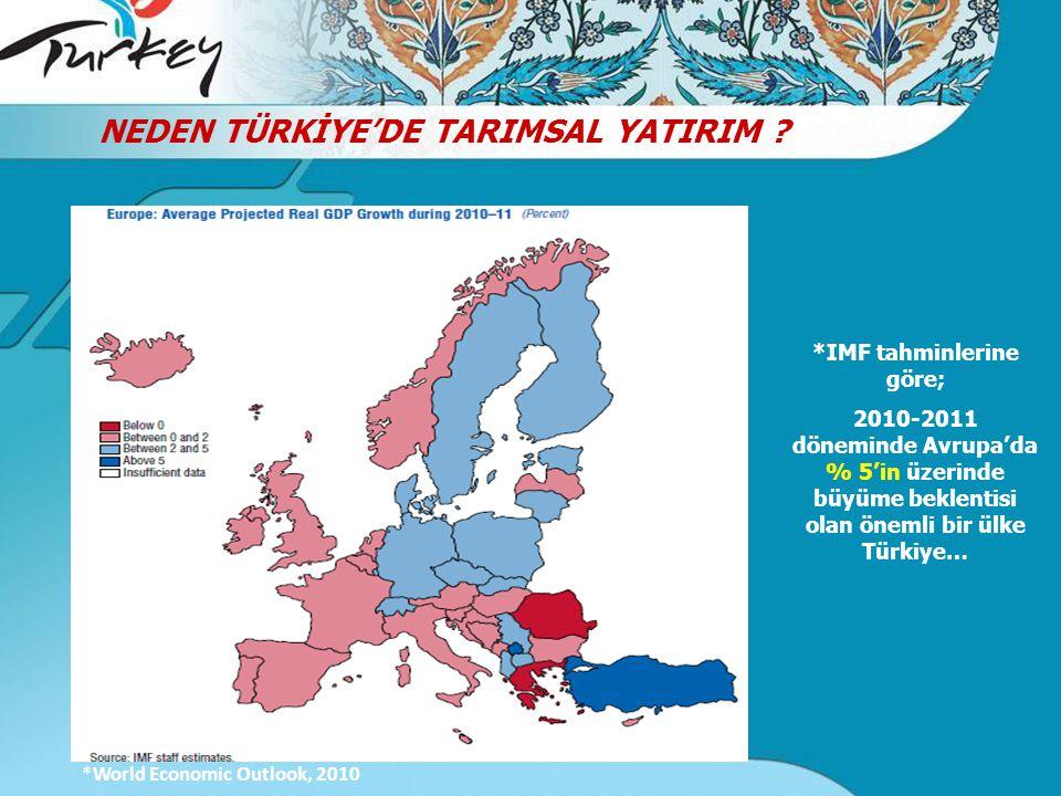 *IMF tahminlerine göre; 2010-2011 döneminde Avrupa'da % 5'in üzerinde büyüme beklentisi olan önemli bir ülke Türkiye… *World Economic Outlook, 2010