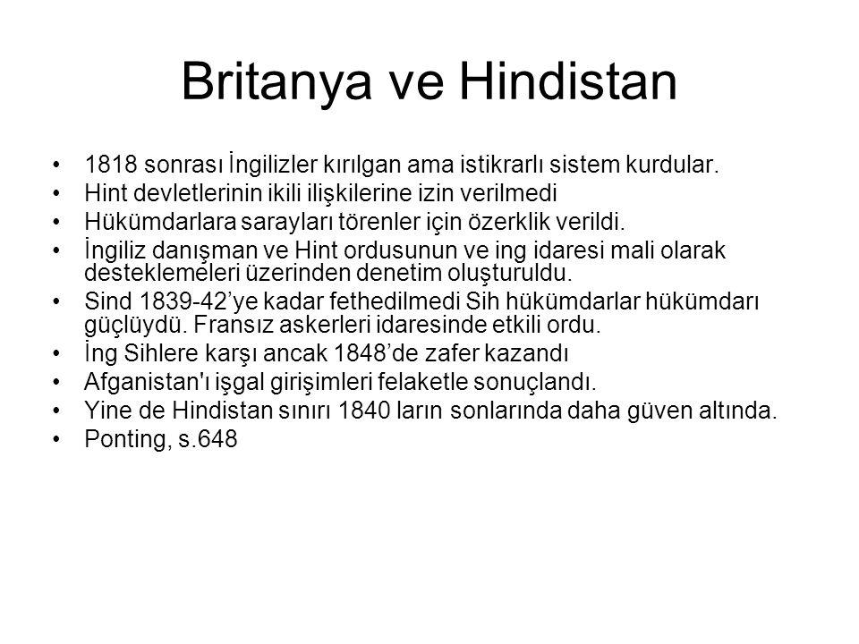 Britanya ve Hindistan 1818 sonrası İngilizler kırılgan ama istikrarlı sistem kurdular. Hint devletlerinin ikili ilişkilerine izin verilmedi Hükümdarla