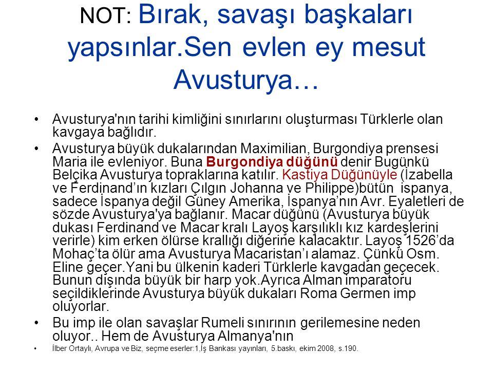 NOT: Bırak, savaşı başkaları yapsınlar.Sen evlen ey mesut Avusturya… Avusturya'nın tarihi kimliğini sınırlarını oluşturması Türklerle olan kavgaya bağ