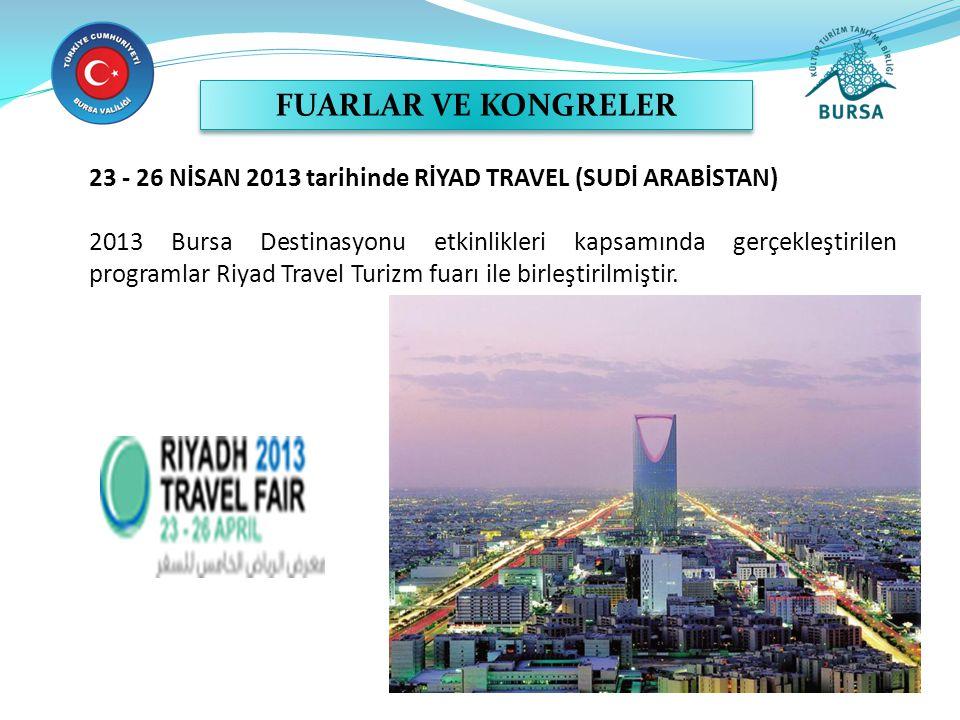 23 - 26 NİSAN 2013 tarihinde RİYAD TRAVEL (SUDİ ARABİSTAN) 2013 Bursa Destinasyonu etkinlikleri kapsamında gerçekleştirilen programlar Riyad Travel Turizm fuarı ile birleştirilmiştir.