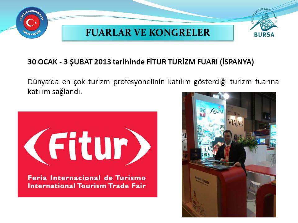 30 OCAK - 3 ŞUBAT 2013 tarihinde FİTUR TURİZM FUARI (İSPANYA) Dünya'da en çok turizm profesyonelinin katılım gösterdiği turizm fuarına katılım sağlandı.