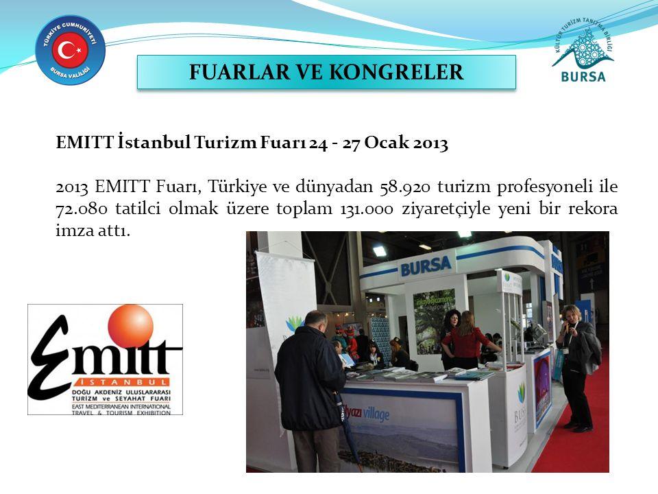 EMITT İstanbul Turizm Fuarı 24 - 27 Ocak 2013 2013 EMITT Fuarı, Türkiye ve dünyadan 58.920 turizm profesyoneli ile 72.080 tatilci olmak üzere toplam 131.000 ziyaretçiyle yeni bir rekora imza attı.