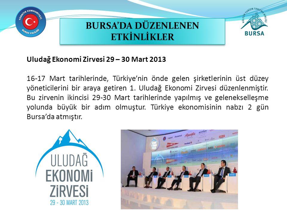 Uludağ Ekonomi Zirvesi 29 – 30 Mart 2013 16-17 Mart tarihlerinde, Türkiye'nin önde gelen şirketlerinin üst düzey yöneticilerini bir araya getiren 1.