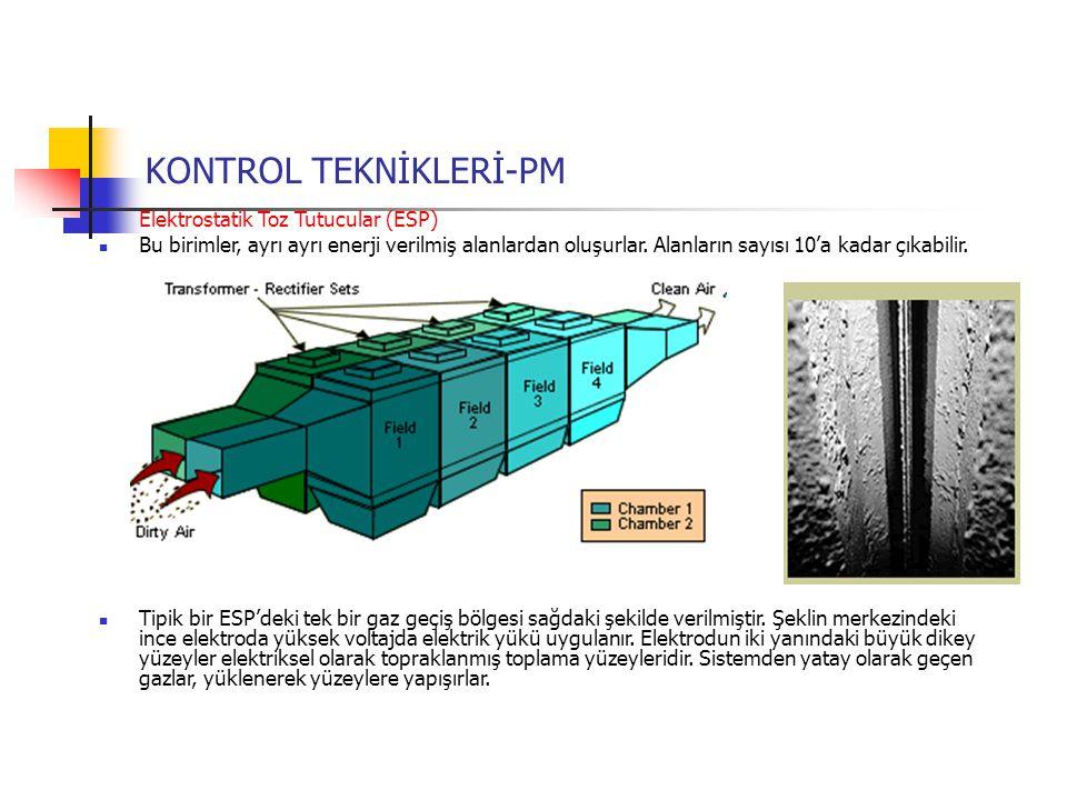 Elektrostatik Toz Tutucular (ESP) Bu birimler, ayrı ayrı enerji verilmiş alanlardan oluşurlar. Alanların sayısı 10'a kadar çıkabilir. Tipik bir ESP'de