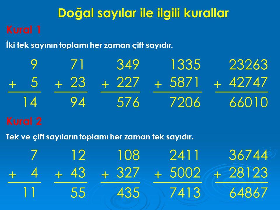 Doğal sayılar ile ilgili kurallar Kural 1 İki tek sayının toplamı her zaman çift sayıdır. 9 5 + 71 23 + 14 94 349 227 + 576 1335 5871 + 7206 23263 427
